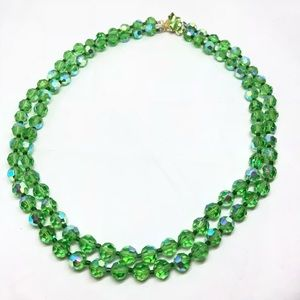 🆕Vintage 2-Strand Green Aurora Crystal Necklace